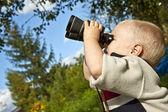 Boy with Binoculars — Stock Photo