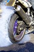 Motorbike - Smoking Tire — Stock Photo