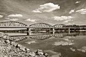 Bridge in Fordon Bydgoszcz Poland - Sepia — Stock Photo