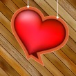 Glow heart on wood background.  + EPS8 — Imagens vectoriais em stock