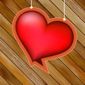 Glow heart on wood background. + EPS8 — Vettoriale Stock