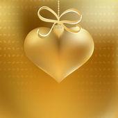 Gyllene jul hjärta dekoration. + Eps8 — Stockvektor