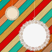 Lace frame on colorful wooden background. + EPS8 — Wektor stockowy