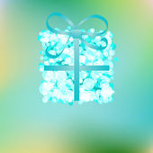 Blue gift box on abstract Christmas. + EPS8 — Stock Vector