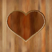 Grunge heart carved into wooden plank. + EPS8 — Stock Vector