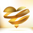 Golden heart on beidge. + EPS8 — Stock Vector