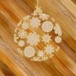 Christmas wood background with ball.  + EPS8 - Stock Vector