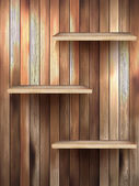 Wood 3d isolated empty shelf for exhibit. EPS 10 — Vector de stock