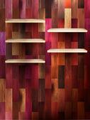 Lege plank voor exposeren op kleur hout. eps 10 — Stockvector