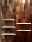 Ripiano vuoto per esposizione su fondo di legno. eps 10 — Vettoriale Stock