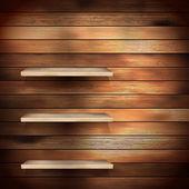 Empty shelf for exhibit on wood background. EPS 10 — Stock Vector