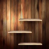пустые полки для выставки на фоне древесины. eps 10 — Cтоковый вектор
