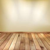 スポット ライトの木製の床とベージュの壁。eps 10 — ストックベクタ