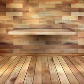 木製の棚の空のインテリア。eps 10 — ストックベクタ