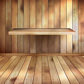 Empty interior with wood shelf. EPS 10 — Stock Vector