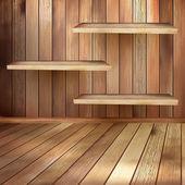 Ancienne salle d'intérieur en bois avec un shelfs. eps 10 — Vecteur