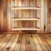 Grunge interior with three shelves. EPS 10 — 图库矢量图片