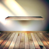Beige Blue wall with lights wooden floor. EPS 10 — 图库矢量图片