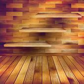 Sala interna in legno vecchio con un scaffali. eps 10 — Vettoriale Stock