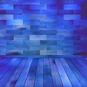 古い青い木製インテリア ルーム。eps 10 — ストックベクタ