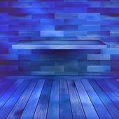 Vecchia stanza blu interni in legno. eps 10 — Vettoriale Stock
