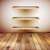 グランジの棚と木製のインテリア。eps 10 — ストックベクタ