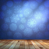 Room wall with snowflakes wallpaper. EPS 10 — 图库矢量图片