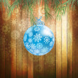 Christmas ball on a wooden background. EPS 10 — 图库矢量图片