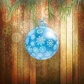 クリスマス ボールの木製の背景。eps 10 — ストックベクタ