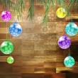 Christmas fir tree on the wooden board. EPS 10 — Image vectorielle