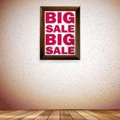 Beige wall wooden floor with Big sale frame. — Stock Vector