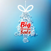Christmas Tree made from snowflakes with Big Sale. — Stock Vector