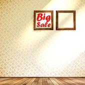 Pavimento in legno parete beige con cornice grande vendita. — Vettoriale Stock