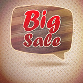 Vintage Big Sale speech bubbles from wood. — Stock Vector
