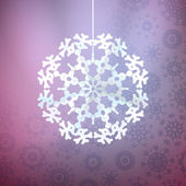 Christmas purple background with snowflake. — Stock Vector