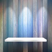 Isolated Empty shelf for exhibit on wood. + EPS10 — Wektor stockowy