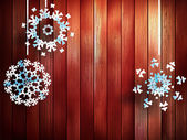 Christmas snowflakes hanging over wooden. EPS 10 — Stock Vector