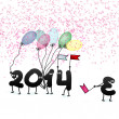 Funny 2014 New Year's Eve greeting card. + EPS10 — Stock Vector
