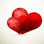 Origami hjärtan mallen design. + eps10 — Stockvektor