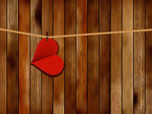 Red paper heart hanging. + EPS10 — Vecteur