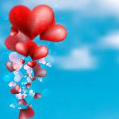 красное сердце, плавающие в небе. + eps10 — Cтоковый вектор