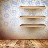 Noel odası rafları ve mavi bir duvar ile. eps 10 — Stok Vektör