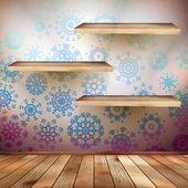 Wand mit einem regale schneeflocken. eps 10 — Stockvektor