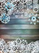Natal flocos de neve na madeira. Além de eps10 — Vetor de Stock