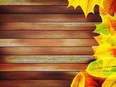 Autumn listowie w starych drewnianych. Plus eps10 — Wektor stockowy