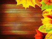 Autumn leaves over old wooden. plus EPS10 — Vetorial Stock