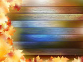 Autumn Leaves over wooden background. EPS10 — Stock Vector