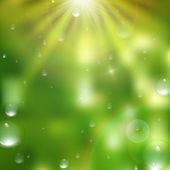 Gotas de agua sobre fondo verde. además eps10 — Wektor stockowy