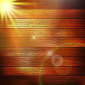 太陽の光と木の板。プラス eps10 — ストックベクタ