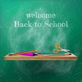 Välkommen tillbaka till skolan mall design. plus eps10 — Stockvektor